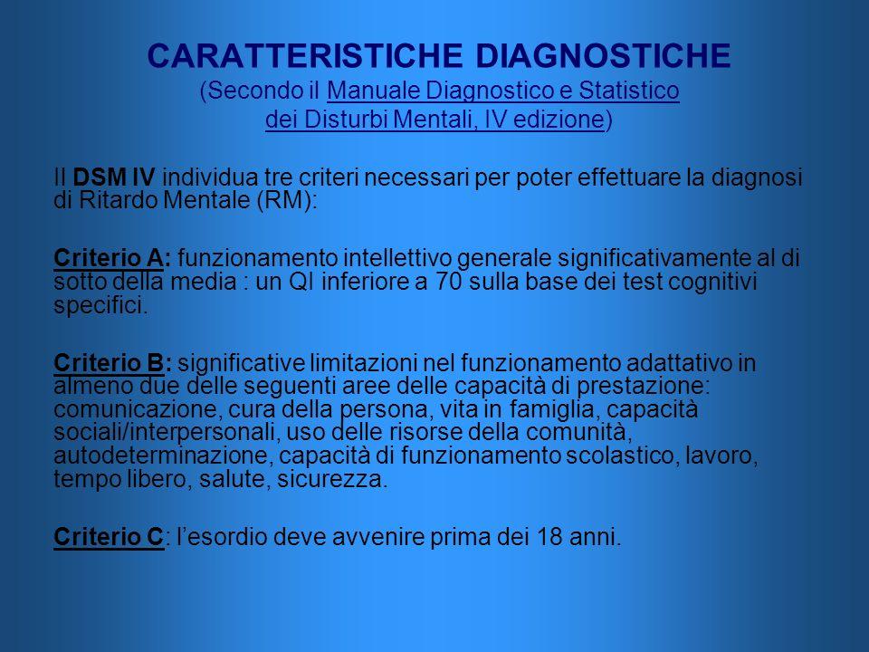 CARATTERISTICHE DIAGNOSTICHE