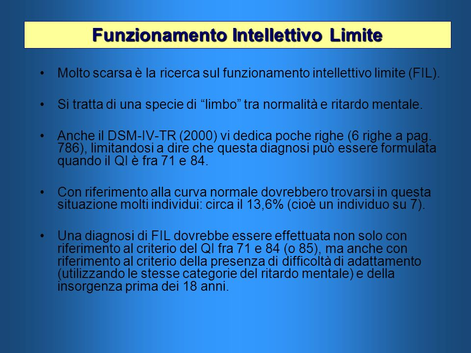 Funzionamento Intellettivo Limite