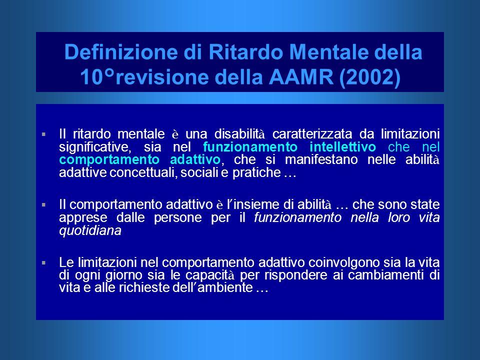 Definizione di Ritardo Mentale della 10°revisione della AAMR (2002)