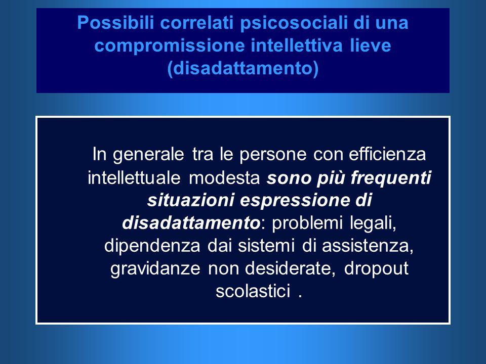 Possibili correlati psicosociali di una compromissione intellettiva lieve (disadattamento)