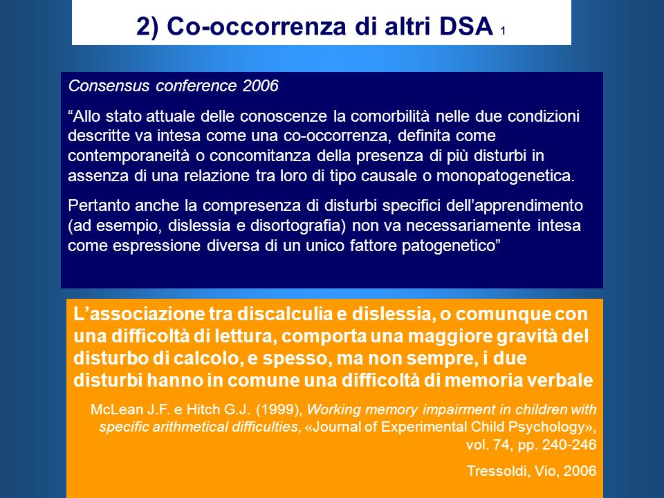 2) Co-occorrenza di altri DSA 1