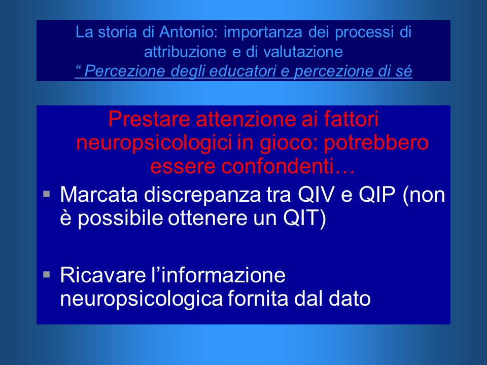 Marcata discrepanza tra QIV e QIP (non è possibile ottenere un QIT)