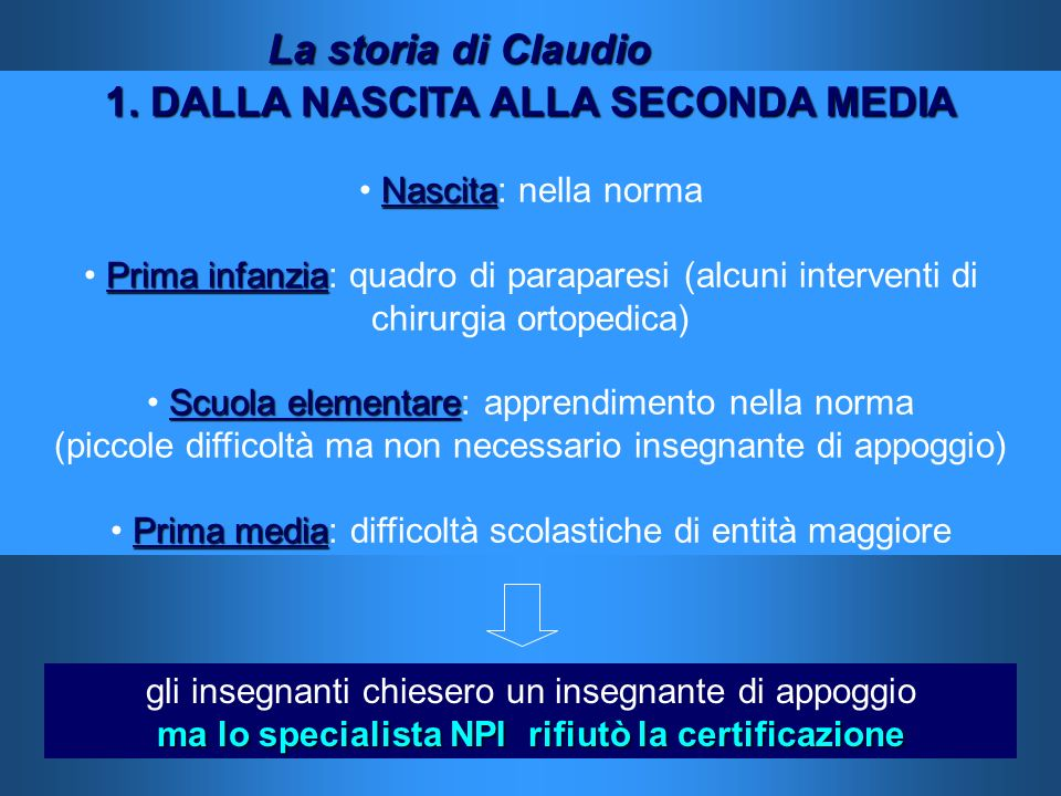 1. DALLA NASCITA ALLA SECONDA MEDIA