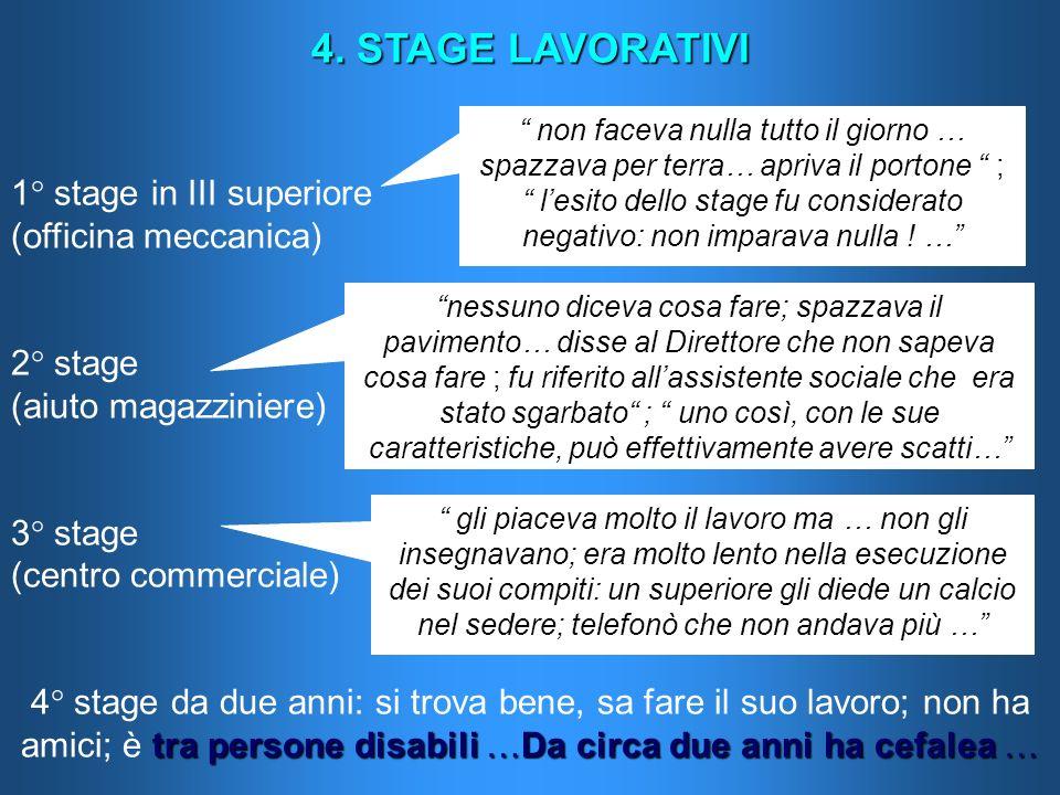4. STAGE LAVORATIVI 1° stage in III superiore (officina meccanica)