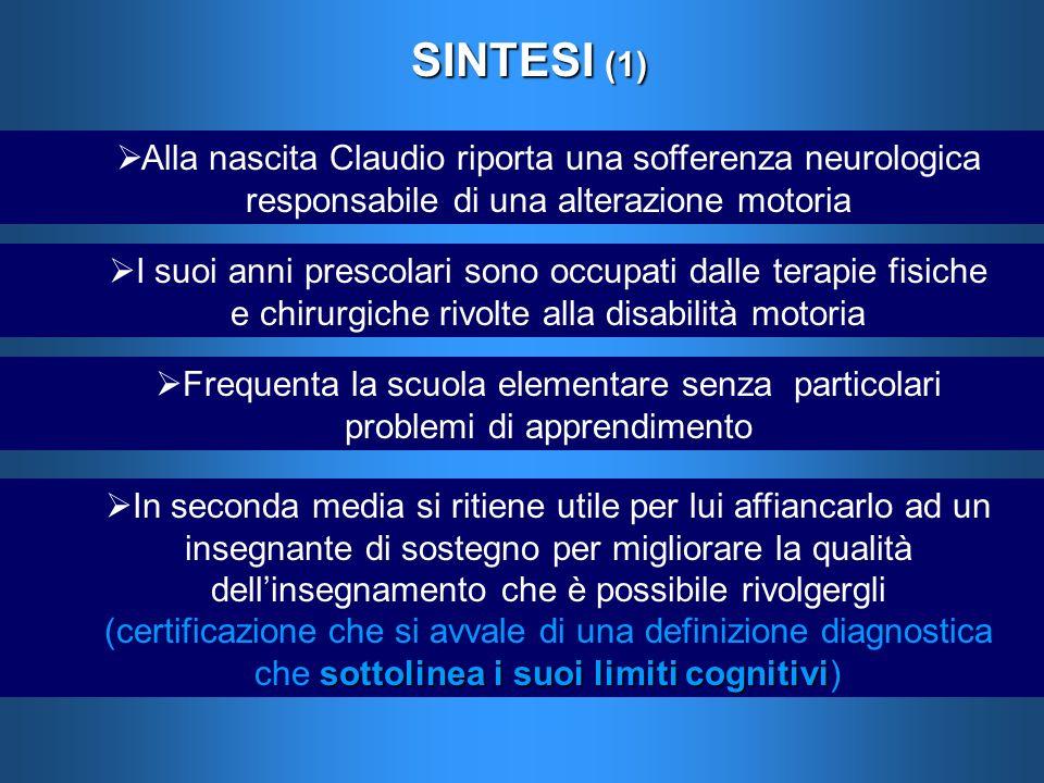 SINTESI (1) Alla nascita Claudio riporta una sofferenza neurologica responsabile di una alterazione motoria.