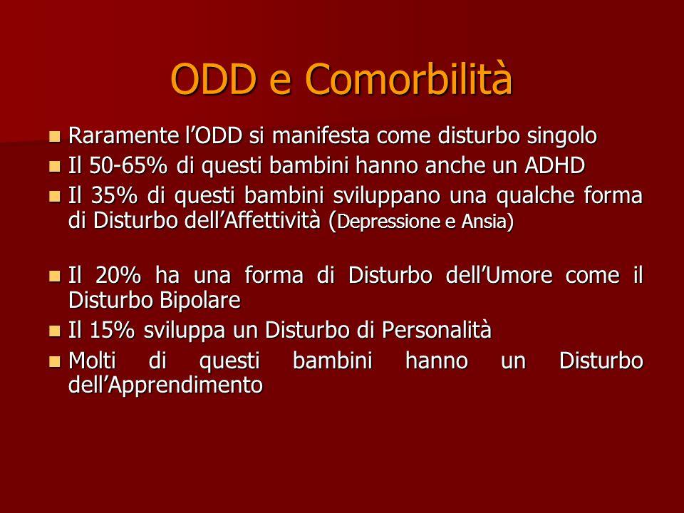 ODD e Comorbilità Raramente l'ODD si manifesta come disturbo singolo