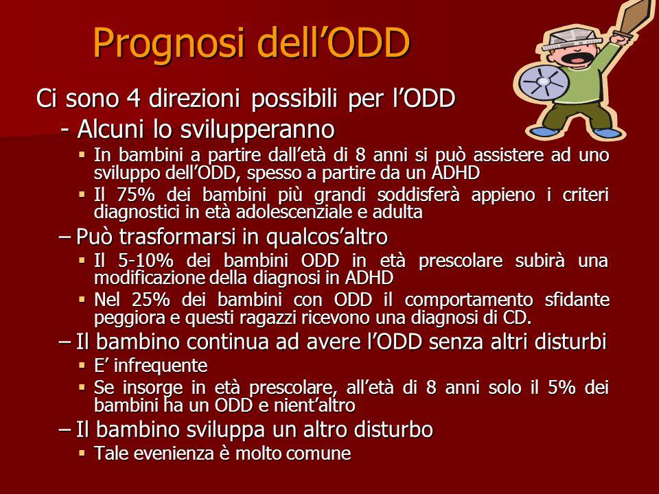 Prognosi dell'ODD Ci sono 4 direzioni possibili per l'ODD