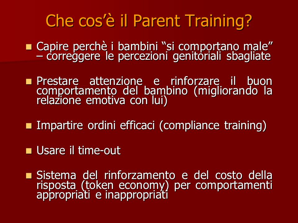 Che cos'è il Parent Training