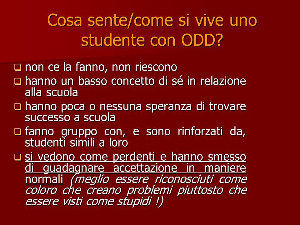 Cosa sente/come si vive uno studente con ODD