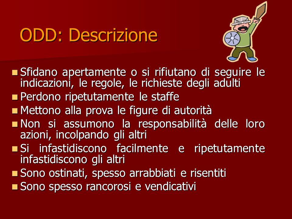 ODD: Descrizione Sfidano apertamente o si rifiutano di seguire le indicazioni, le regole, le richieste degli adulti.