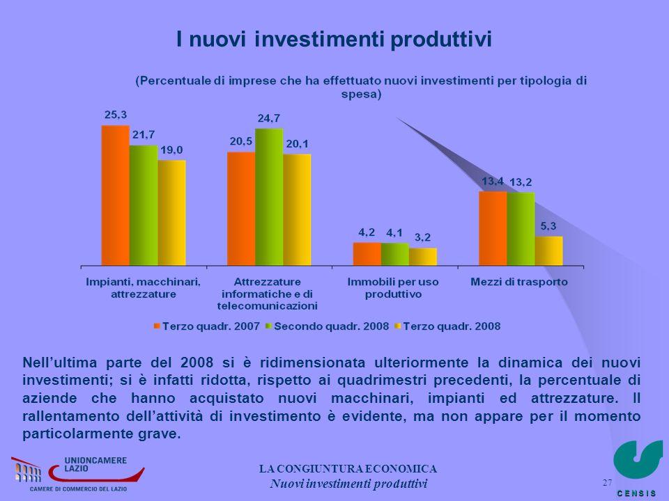 I nuovi investimenti produttivi