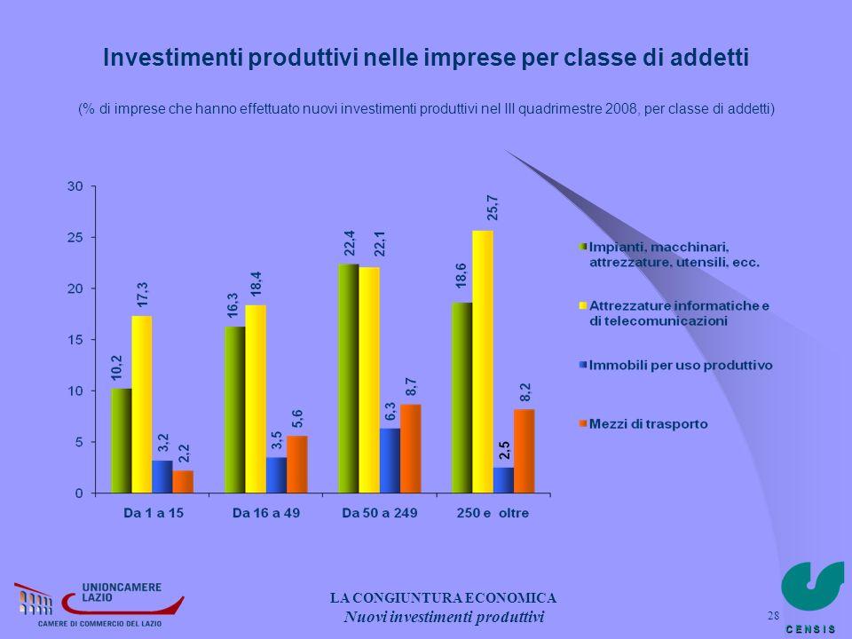 LA CONGIUNTURA ECONOMICA Nuovi investimenti produttivi