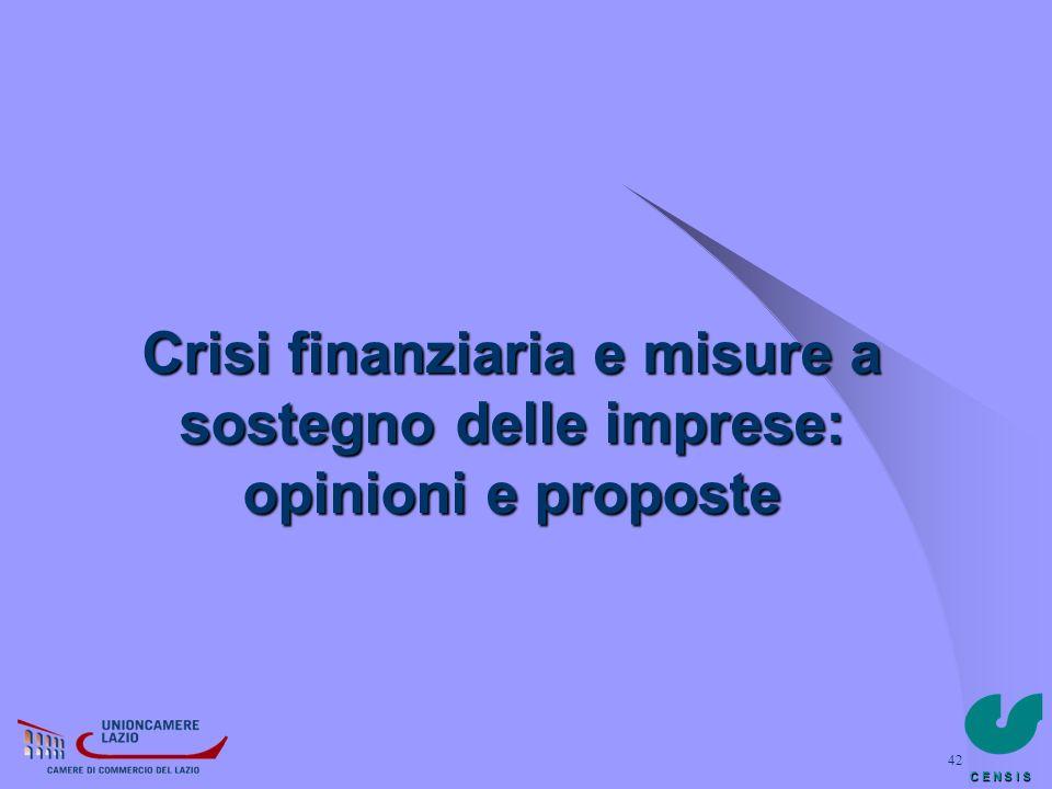 Crisi finanziaria e misure a sostegno delle imprese: opinioni e proposte