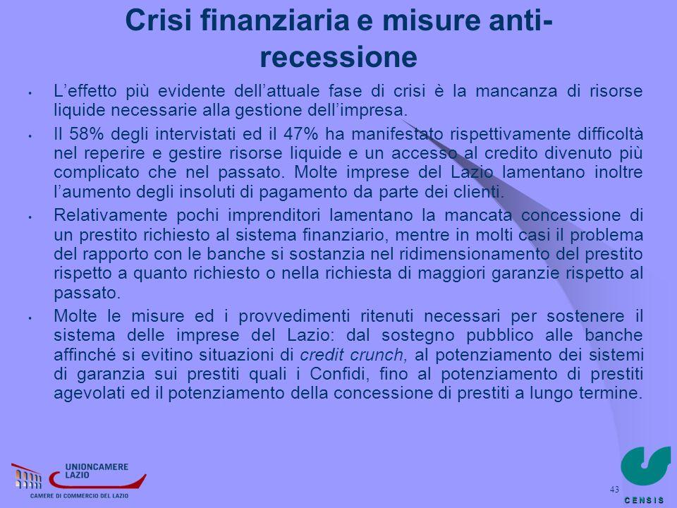 Crisi finanziaria e misure anti-recessione