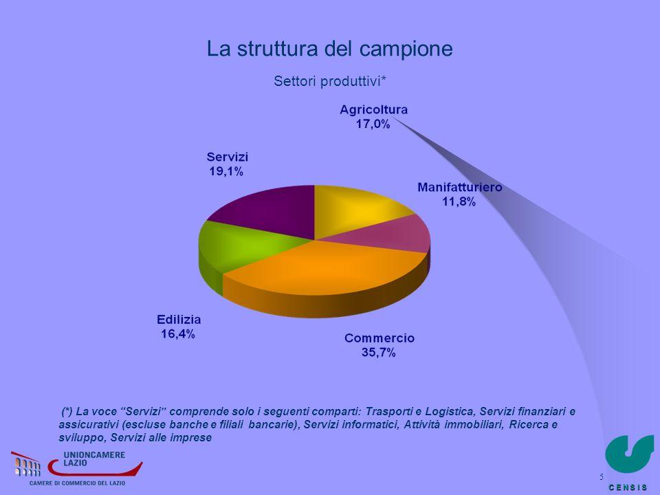 La struttura del campione Settori produttivi*