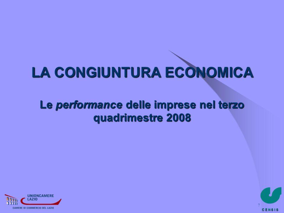LA CONGIUNTURA ECONOMICA Le performance delle imprese nel terzo quadrimestre 2008