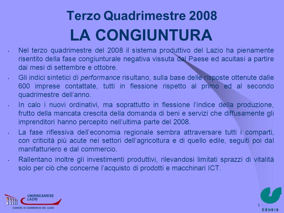 LA CONGIUNTURA Terzo Quadrimestre 2008