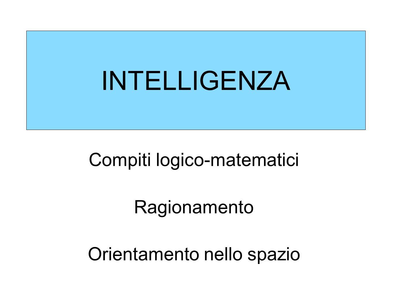 INTELLIGENZA Compiti logico-matematici Ragionamento
