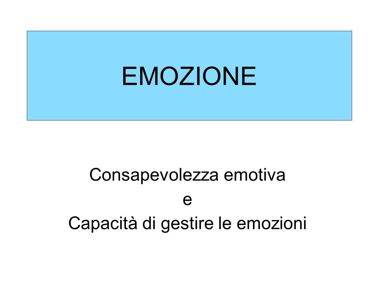 EMOZIONE Consapevolezza emotiva e Capacità di gestire le emozioni