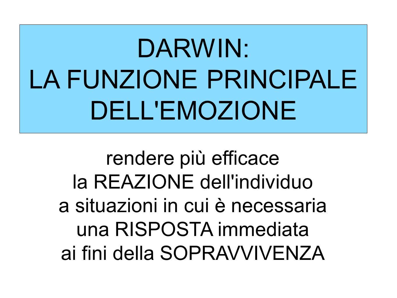 DARWIN: LA FUNZIONE PRINCIPALE DELL EMOZIONE