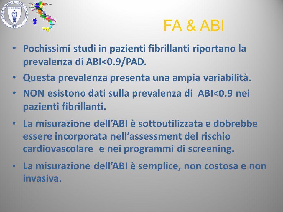FA & ABI Pochissimi studi in pazienti fibrillanti riportano la prevalenza di ABI<0.9/PAD. Questa prevalenza presenta una ampia variabilità.