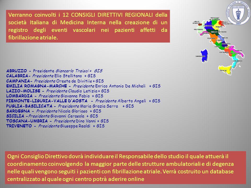 Verranno coinvolti i 12 CONSIGLI DIRETTIVI REGIONALI della società Italiana di Medicina Interna nella creazione di un registro degli eventi vascolari nei pazienti affetti da fibrillazione atriale.