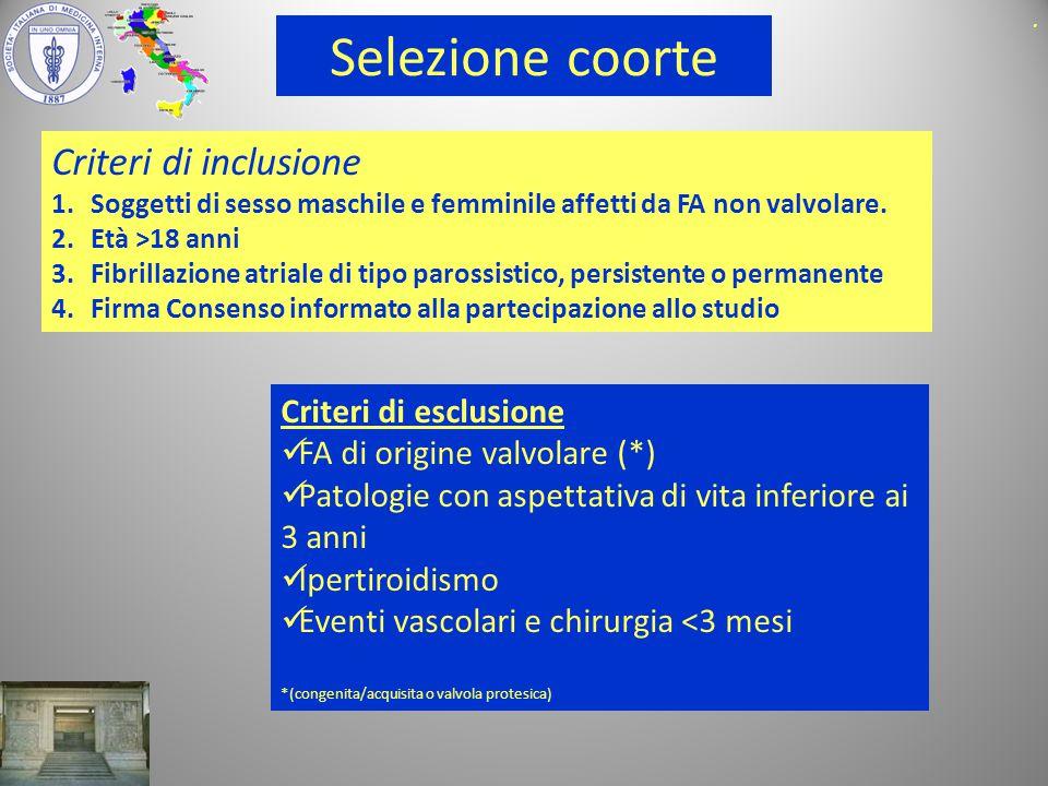 Selezione coorte Criteri di inclusione Criteri di esclusione