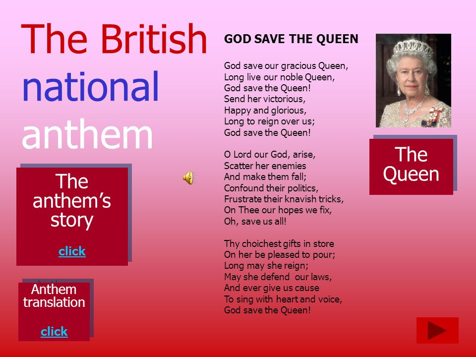 The British national anthem The Queen The anthem's story Anthem