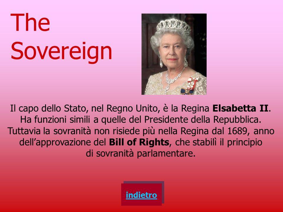 The Sovereign Il capo dello Stato, nel Regno Unito, è la Regina Elsabetta II. Ha funzioni simili a quelle del Presidente della Repubblica.