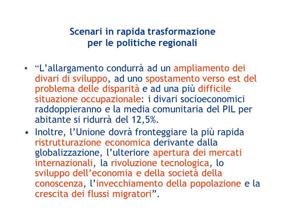 Scenari in rapida trasformazione per le politiche regionali