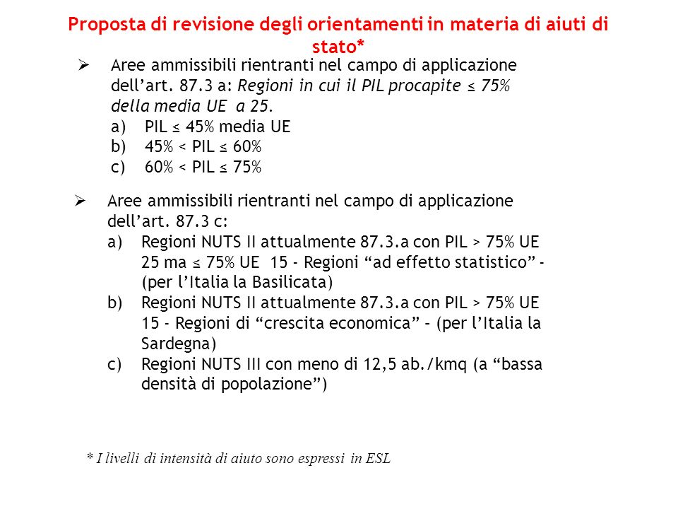 Proposta di revisione degli orientamenti in materia di aiuti di stato*