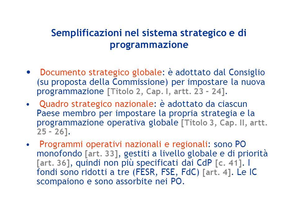 Semplificazioni nel sistema strategico e di programmazione