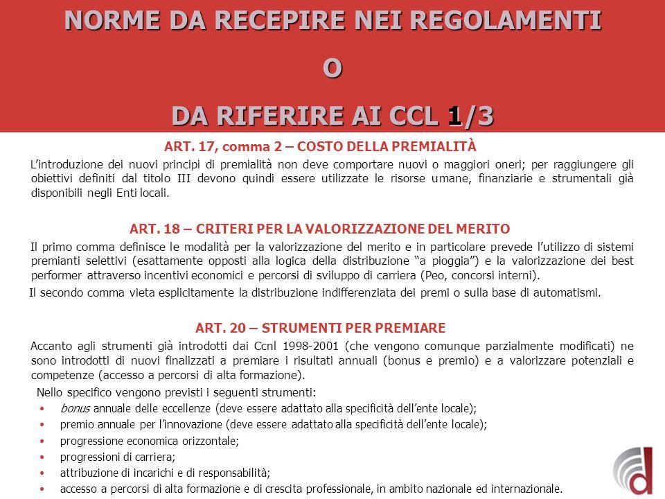 NORME DA RECEPIRE NEI REGOLAMENTI O DA RIFERIRE AI CCL 1/3