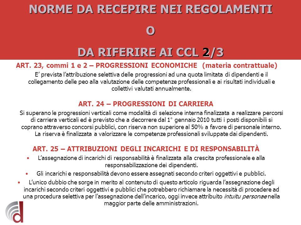 NORME DA RECEPIRE NEI REGOLAMENTI O DA RIFERIRE AI CCL 2/3