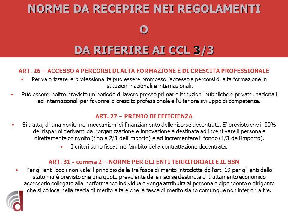 NORME DA RECEPIRE NEI REGOLAMENTI O DA RIFERIRE AI CCL 3/3
