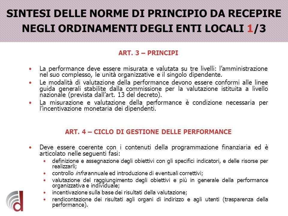 ART. 4 – CICLO DI GESTIONE DELLE PERFORMANCE