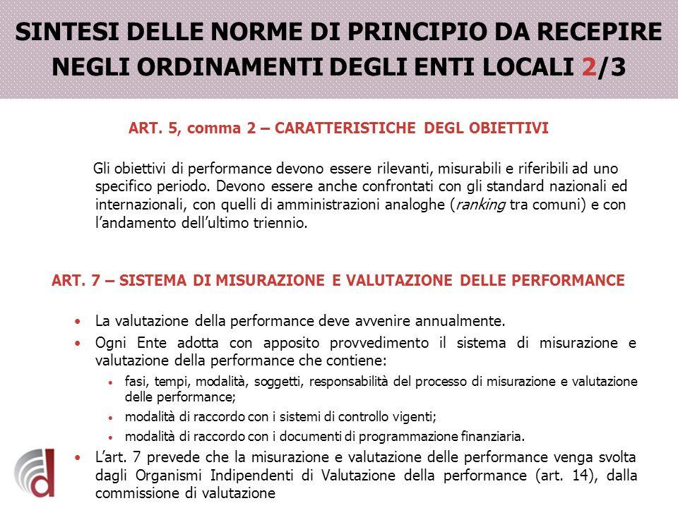 SINTESI DELLE NORME DI PRINCIPIO DA RECEPIRE NEGLI ORDINAMENTI DEGLI ENTI LOCALI 2/3