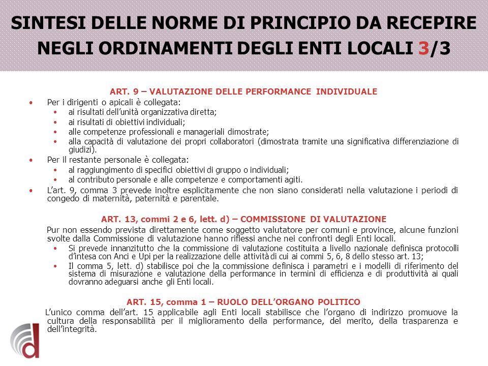 SINTESI DELLE NORME DI PRINCIPIO DA RECEPIRE NEGLI ORDINAMENTI DEGLI ENTI LOCALI 3/3