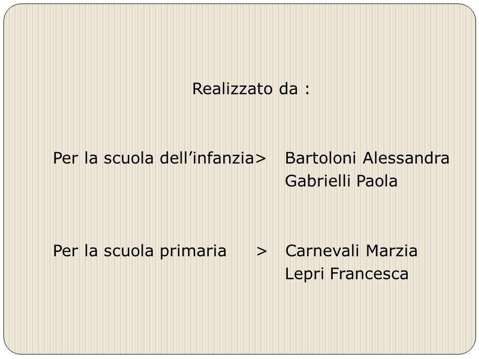 Realizzato da : Per la scuola dell'infanzia> Bartoloni Alessandra Gabrielli Paola Per la scuola primaria > Carnevali Marzia Lepri Francesca