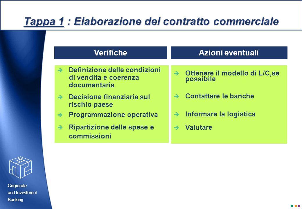 Tappa 1 : Elaborazione del contratto commerciale