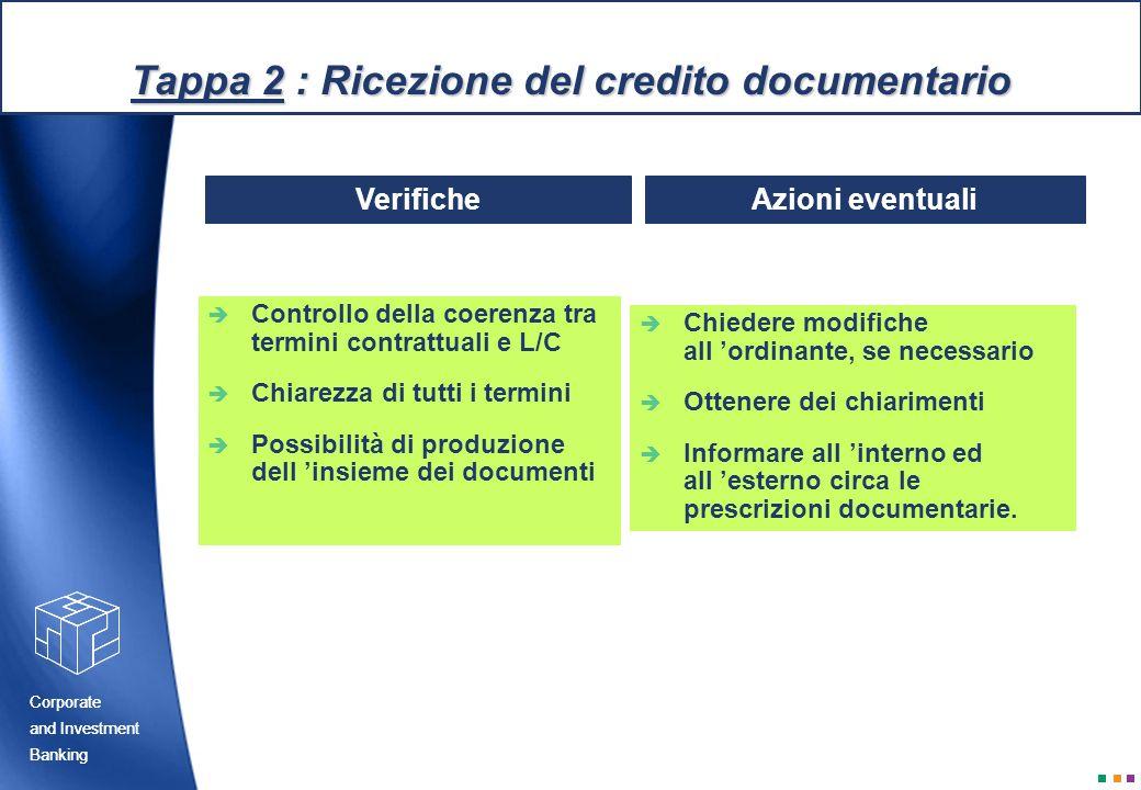 Tappa 2 : Ricezione del credito documentario