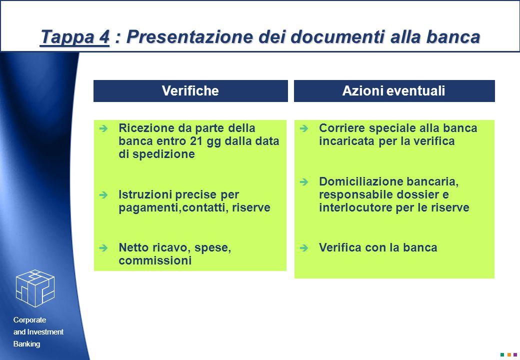 Tappa 4 : Presentazione dei documenti alla banca