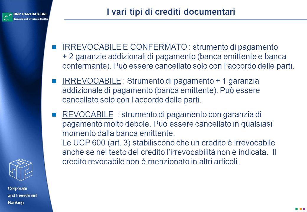 I vari tipi di crediti documentari