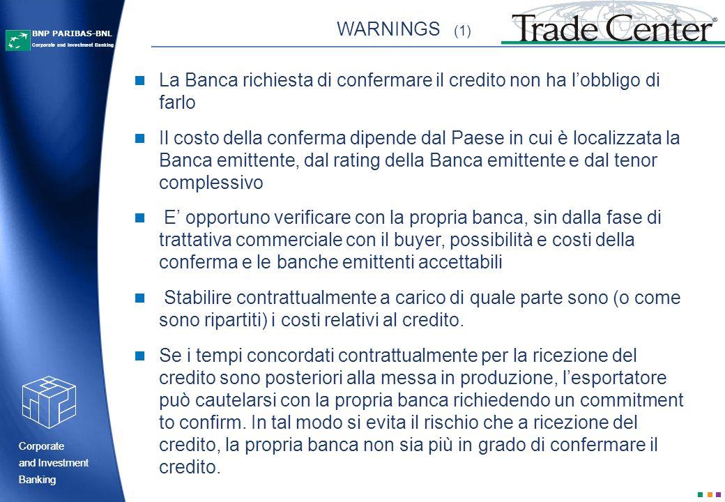 WARNINGS (1)La Banca richiesta di confermare il credito non ha l'obbligo di farlo.
