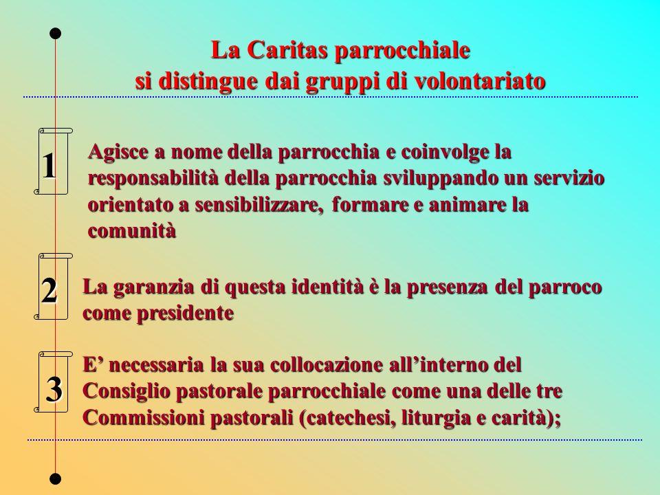 La Caritas parrocchiale si distingue dai gruppi di volontariato
