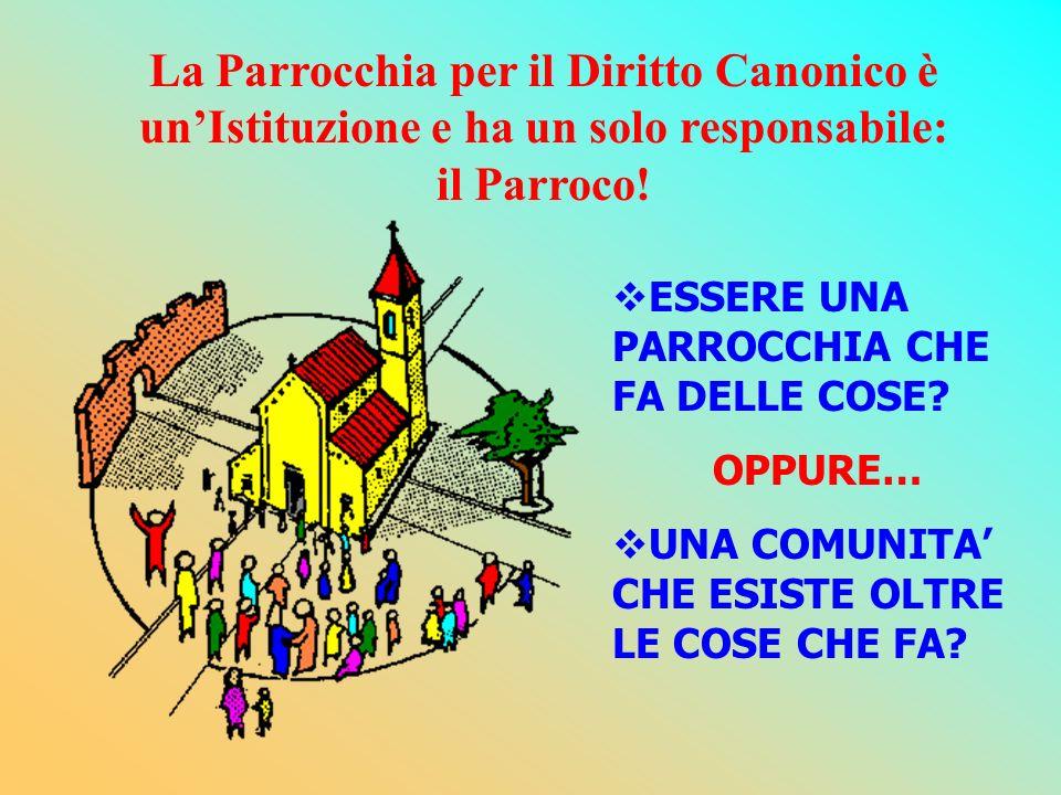 La Parrocchia per il Diritto Canonico è un'Istituzione e ha un solo responsabile: il Parroco!