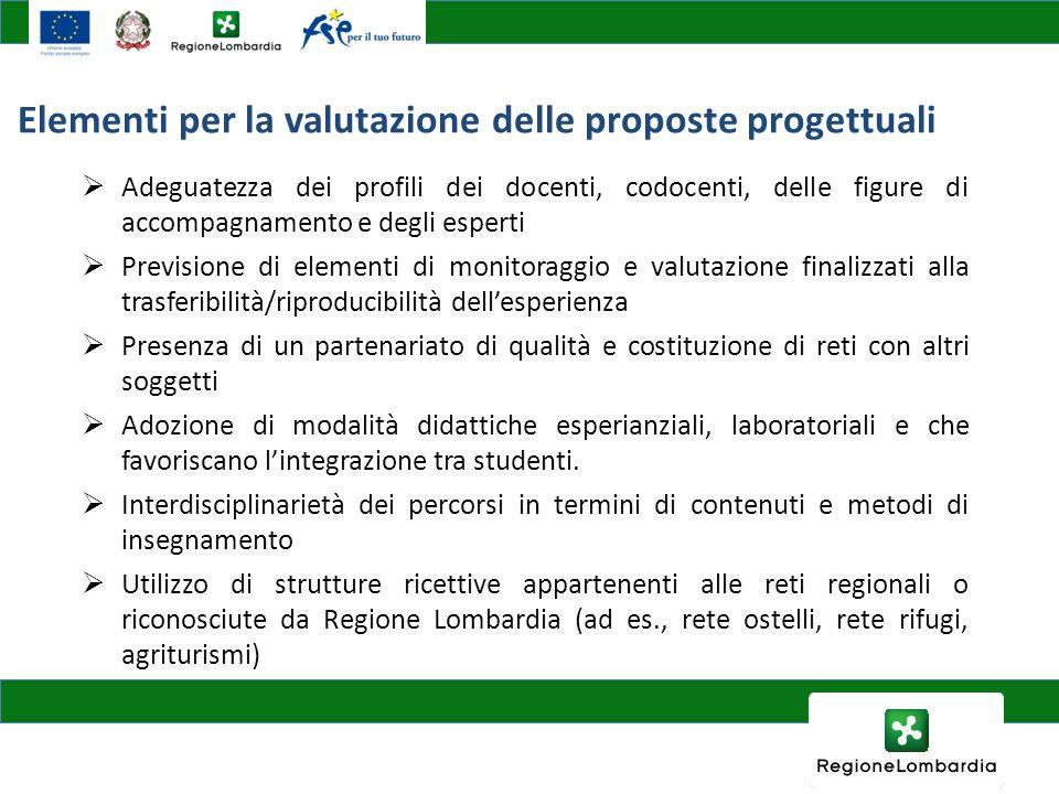 Elementi per la valutazione delle proposte progettuali