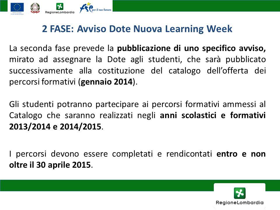 2 FASE: Avviso Dote Nuova Learning Week