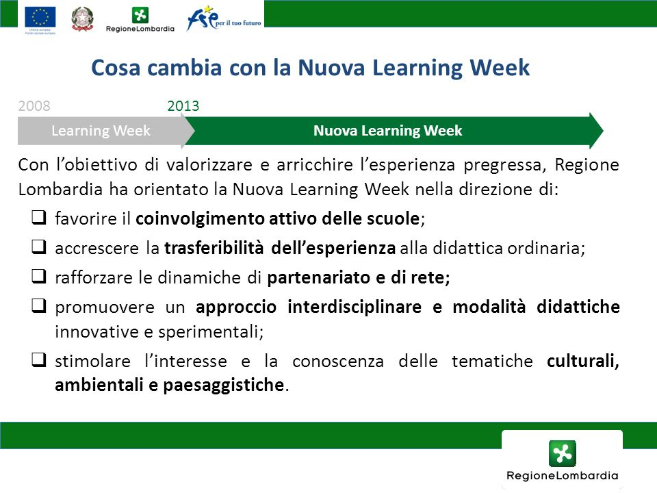 Cosa cambia con la Nuova Learning Week
