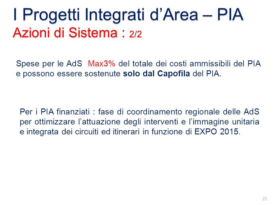 I Progetti Integrati d'Area – PIA Azioni di Sistema : 2/2